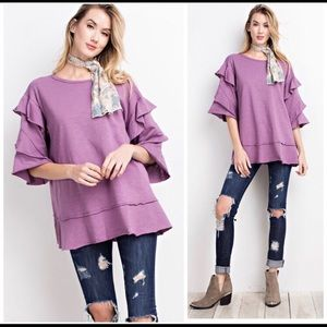 Gorgeous lavender Top, Big Bell Sleeves. Large